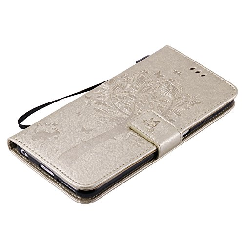 Hülle für iPhone 6S Plus, Tasche für iPhone 6 Plus, Case Cover für iPhone 6 Plus, ISAKEN Blume Schmetterling Muster Folio PU Leder Flip Cover Brieftasche Geldbörse Wallet Case Ledertasche Handyhülle T Baum Katze Gold