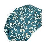 Ieararfre Blumenmuster Kompakte Reise Regenschirm Winddicht Wasserdicht Auto-Öffnen und Schließen-Knopf