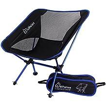 WolfWise Taburete plegable Ultralight Camping Sillas portátil con Bolsa de Transporte y Mosquetón Azul