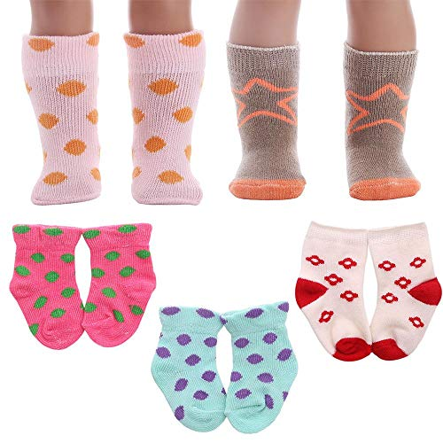 6 Pairs Lovely Doll Socks Soft Cotton Socks Doll clothes accessories,17 inch