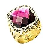 Mianova Damen Ring XXL Designer Damenring vergoldert mit großem Lila Amethyst und weißen Zirkonia am Rand Größe 59 (18.8)