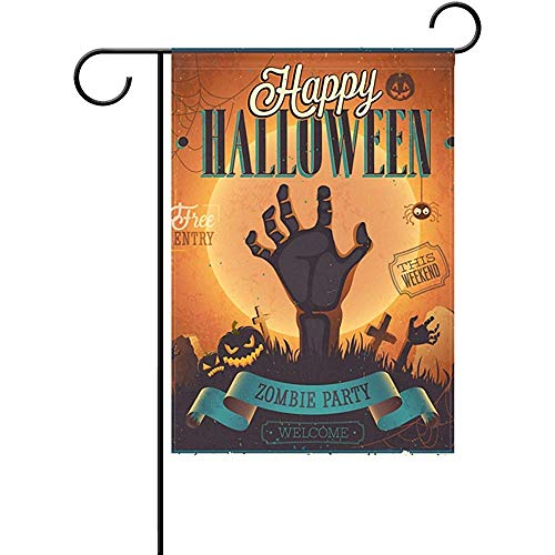 Mesllings Halloween Garden Flagge Spider Monster Hand Double Sided 12