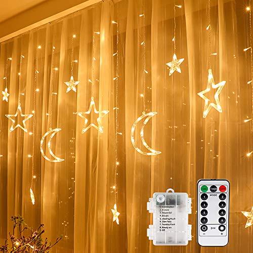 LED Lichtervorhang Lichterkette, Vegena Sterne und Mond 138pcs LED Fenstervorhang Lichter Mit 8 Blinkenden Modi für Garten, Haus, LED Sternenvorhang Dekorative, Warmes Weiß 3.5 * 1M