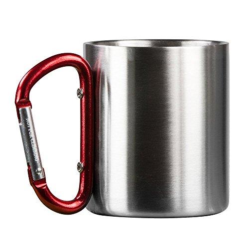 Vie Gear Mug à Double paroi en Acier Inoxydable avec Mousqueton Poignée - Portable Escalade, randonnée, randonnée ou Camping Tasse de Voyage 226,8 Gram