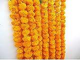 OMG-Deal Künstliche Ringelblumen Saiten Orange Farbe Party Hintergrund Party Dekoration Indische Motto Party Decor Foto