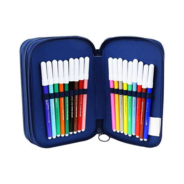 Los Pitufos Estuche Escolar Làpices de Colores Plumier Triple para Ninos Azul