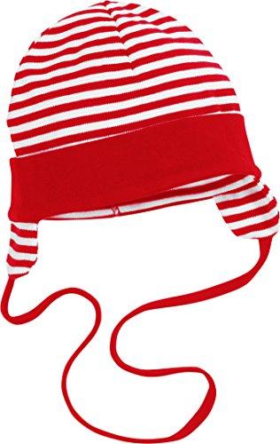 Schnizler Unisex Baby Bindemütze mit Ohrenschutz Mütze, Rot (rot/weiß 44), Large (Herstellergröße: 49cm)