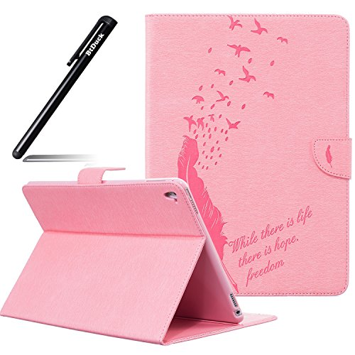BtDuck Cover For Apple iPad Pro 9.7 inch,Suitable For Female Secretary Embossed Quill Pen Feather Birdie Retro Notebook Pink Background Solid color Leather Case Practical Fashionable The New 3D PU Leather Magnetic Shell Flip Folio Book Style Version with Built-in Stand and Front / Back Protection Slim-Fit iPad Smart Case Oyster Card ( Travel Card Bus Pass ) Holder Slots Pocket Kickstand Function + 1 * Black Stylus Pen Black (Heels Tie Bow)