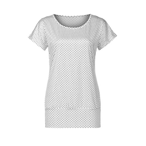 Manadlian - T-shirts Chemisier Femme Tops Col Rond Dots Sexy Chemise à Manches Courtes Blanc