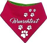 KLEINER FRATZ beidseitiges Multicolor Hunde Wende-Halstuch (Fb: pink-lime) (Gr.1 - HU 27-30 cm) mit Ihrem Wunschtext