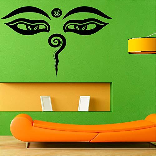 yiyiyaya Indische Buddha Augen Wandaufkleber Wohnkultur Abnehmbare Vinyl Wandtattoo Adhesive Murals Art Design 45x29 cm