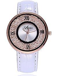 Kinlene Mujer Casual Relojes,Moda cuero banda de cuarzo analogico redondo reloj relojes (A)