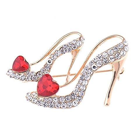V-EWIGE Swaroski Crystal Red Heart High-heels Brooch Pin for Women