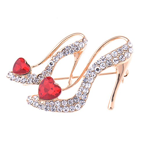 V-EWIGE Swaroski Crystal Red Heart High-heels Brooch Pin for Women