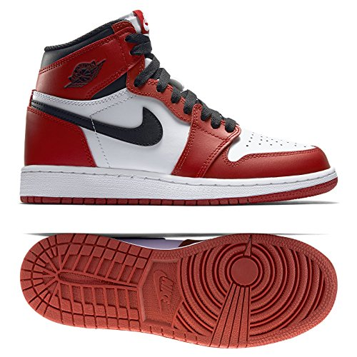 Nike Jungen Air Jordan 1 Retro High OG BG Basketballschuhe, Rot (Weiß/Schwarz-Varsity Red), 40 EU