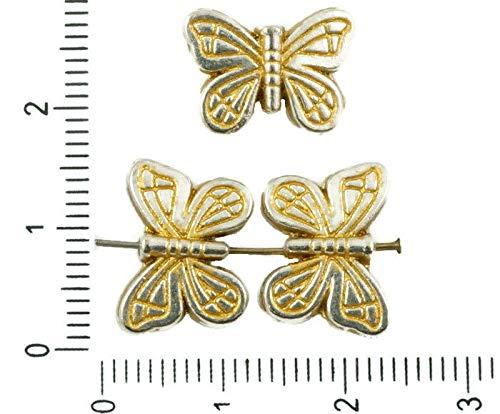8pcs Antique Silver Tone Matt Gold Patina Waschen, Flach, Gefüttert, Schmetterling, Tier Perlen Charms zweiseitig böhmischen Metall-Ergebnisse 14mm x 10mm