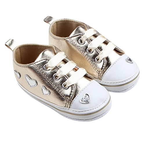 Hunpta Neue jungen Lauflernschuhe Infant Girl weiche Sohle Krippe Schuhe Sneaker (13, Rot) Gold