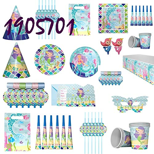 Die Kleine Meerjungfrau Thema Pappbecher Tasche Teller Tischdecke Stroh Blowout Ballon Banner Einladungskarte Party Supplies Favor Geschenk, Latex Ballon X1