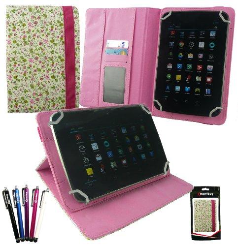 emartbuy Packet Mit 5 Eingabestift +Universalbereich Floral Rosa/Grün Multi Winkel Folio Wallet Hülle Schutzhülle Cover mit Kartensteckplätze geeignet für I.onik TP - 1200QC 7.85 Zoll Tablet