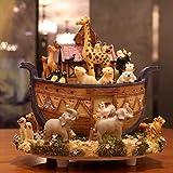 YOIL Exquisites und anmutiges Geschenk Noahs Arche-Tierwelt-drehende Spieluhr mit Musik von Canon-Schreibtisch-Dekorationen