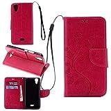 Schutzhülle Für Wiko Rainbow Jam 4G , pinlu® Handyhülle Hohe Qualität PU Ledertasche Brieftasche Mit Stand Function Innenschlitzen Design Schmetterling Rose Red