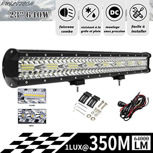 RUILITECH 23' 640W 12v 24v 3-Rangées Barre Lumineuse LED Faisceau Combo Travail pour Tracteur Bateau Hors Route 4WD 4x4 Camion SUV ATV + Kit De Câblage