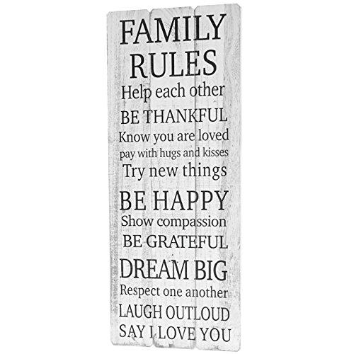 Mendler Wandschild Family Rules, Holzschild Dekoschild, Shabby-Look Vintage 76x31cm