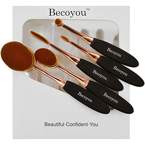 Becoyou Makeup Brushes Set Professional Oval Makeup Brush Cosmetic Brushes With Soft Toothbrush Shaped Design (Rose Gold)