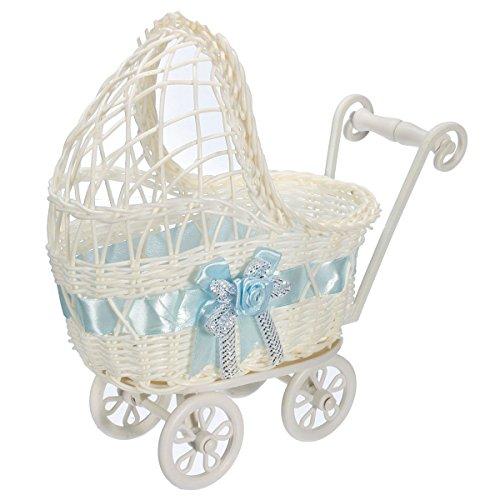 Bluelover Blume Korb Wicker Kinderwagen Korb Baby Dusche Party Geschenk Geschenk Veranstalter Home Tisch Dekor Geschenk - Blau - Wicker Regal Korb