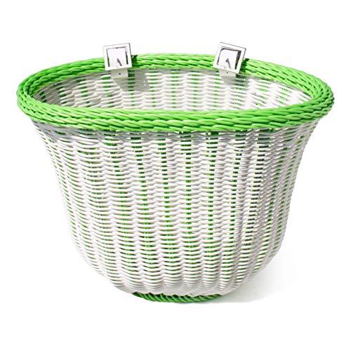 colorbasket 01402 Fahrradkorb für Erwachsene, Unisex-Erwachsene, Adult Front Handlebar Bike Basket, weiß/grün, White with Green Trim -