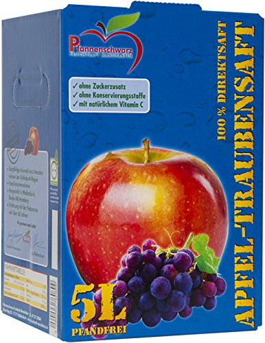 100% Traubensaft (Pfannenschwarz Apfel-Traubensaft 100% Direktsaft, 2er Pack (2x5 l Bag in Box))