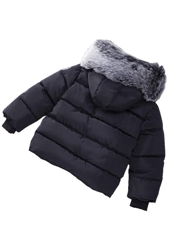 Odziezet Abrigo de Plumas Niñas Niños Invierno Chaqueta Caliente Otoño Invierno Cortaviento con Capucha Negro Rojo… 2
