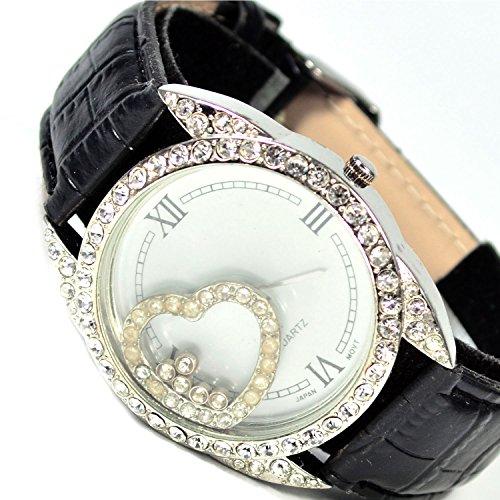XXL Mujer Reloj Reloj de pulsera en plata con piedras brillantes muy edele-geschenk-set Reloj de mujer elegante con corazón