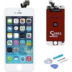 SANKA Ecran LCD iPhone 5, Retina Tactile Écran Vitre Display Digitizer Kit de Réparation Complet - Blanc (Free Outils Inclus)
