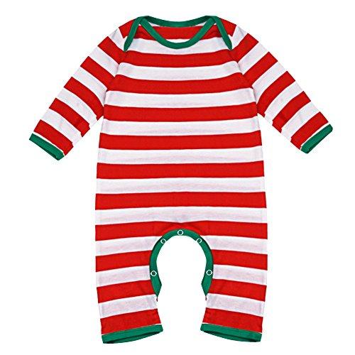 YIZYIF Unisex Bebé Niños Manga Larga Navidad Rayada Mameluco Para 3-18 Meses, Blanco y Rojo, 6-9 meses