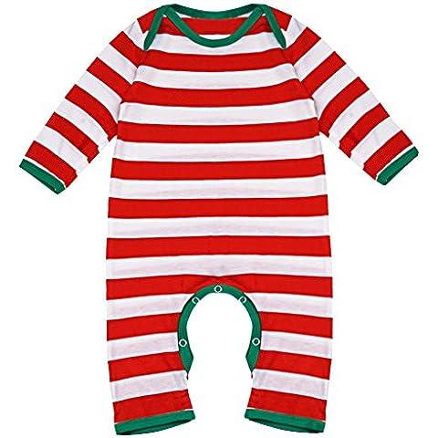 YIZYIF Unisex Bebé Niños Manga Larga Navidad Rayada Mameluco Para 3-18 Meses