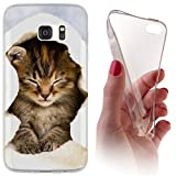 Samsung S3 / S3 Neo Softcase Hülle Galaxy S3 Cover Backkover Softcase TPU Hülle Slim Case für Samsung Galaxy S3 / S3 neo (1003 Katze Katzen Baby Braun Blau Weiß)