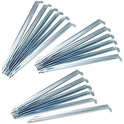 com-four® 18x Zelt-Heringe aus Metall im V-Profil, stabile Erdnägel für Outdooraktivitäten, 23 cm (Metall halbrund - 18 Stück)