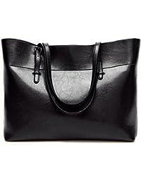 Nikauto Leather Tote Bag For Women, Large Commute Handbag Shoulder Lady Zipper Women'S Work Satchel - Black