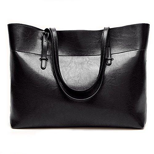Tasche Kosmetik Zipper Große (Ledertasche für Frauen, große Pendel Tasche Schultertasche Damen Zipper Frauen Arbeit Umhängetasche (Schwarz))