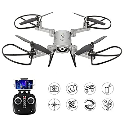 LE-IDEA 2MP Selfie Drones 2.4G Foldable RC Quadcopter Wifi FPV Drone Altitude Hold 3D Flips Rolls Gyro RTF RC Drones Best Gift