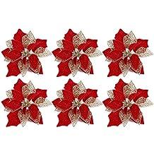 Gosear Flor De Navidad 6 UNIDS Realista Decoración de Flores Artificiales Adornos para Casa Casa Mall
