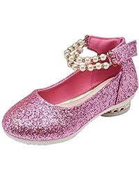 M&A Zapatos Cuero de Tacón Niña Baile Princesa Diseño de Perla 7-12 Años 27-37