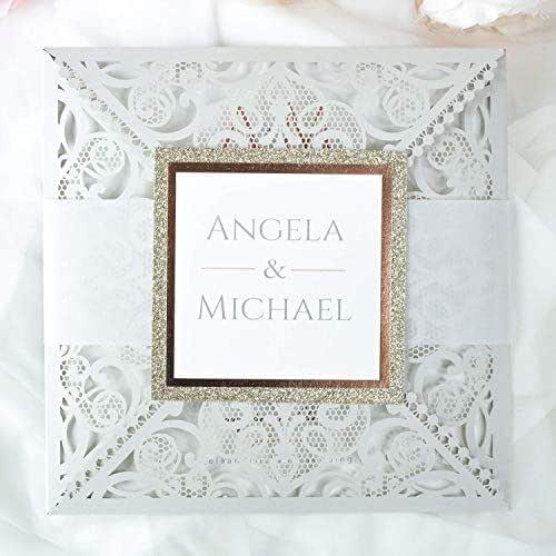 Carta con busta partecipazioni matrimonio taglio laser fai da te grigio inviti matrimonio - campione prestampato !!
