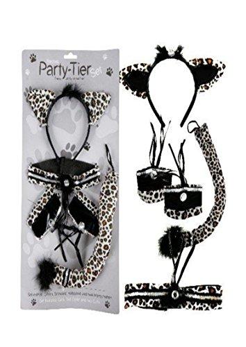 Catwomen - Set Leopard Kostüm Verkleidungs-Set 5-teilig Fasching Schwanz Halsband Haarreif und Manchetten - Manchettes Kostüm