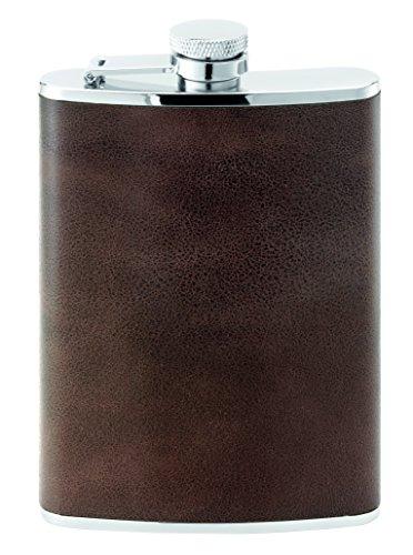 Herbertz Taschenflasche, Edelstahl, Leder, 230 ml Messer, Mehrfarbig, One Size