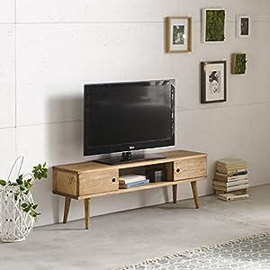 HOGAR24 hogar24-mesa Television, TV Cabinet Living Room Vintage, 2Doors and Shelf, Natural Solid Wood, Handmade. 110cm x 40cm x 30cm