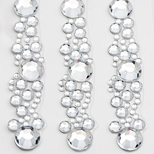 12.5cm Diamante Rhinestone Cluster Embellishment Strip - Self Adhesive Gem Craft Sticker (3 Pieces)
