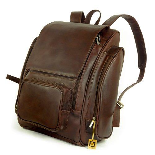 Sehr Großer Lederrucksack Größe XL / Laptop Rucksack bis 15,6 Zoll, für Damen und Herren, Braun, Jahn-Tasche 709