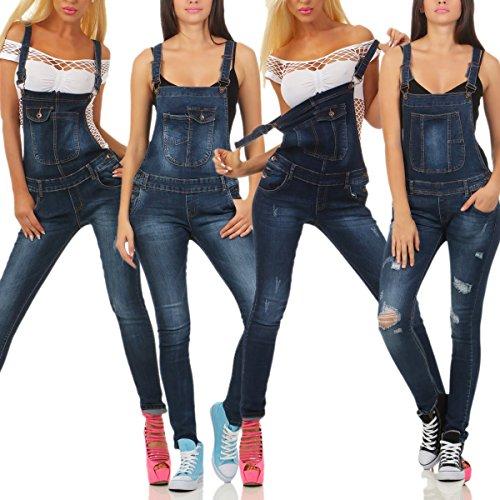 Fashion4Young Damen Latzjeans Latzhose Latz Jeans Röhrenjeans Jeanslatzhose Overall 5 Designs 3784-blau